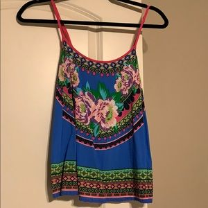Blue and patterned tank